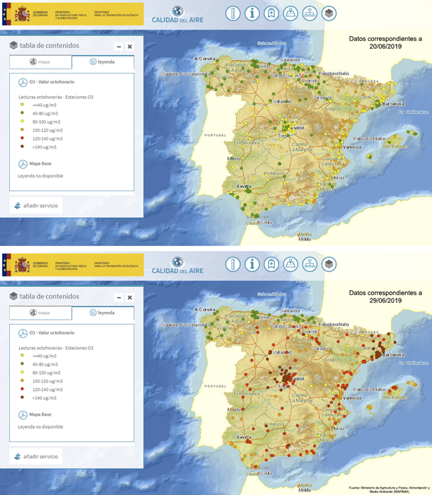 Mapa de España con la concentración de ozono en junio